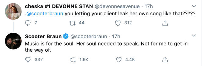 Scooter Braun responds to Demi Lovato leaking her own song