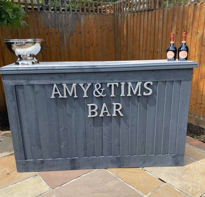 Amy Childs and her boyfriend have a bar in the garden