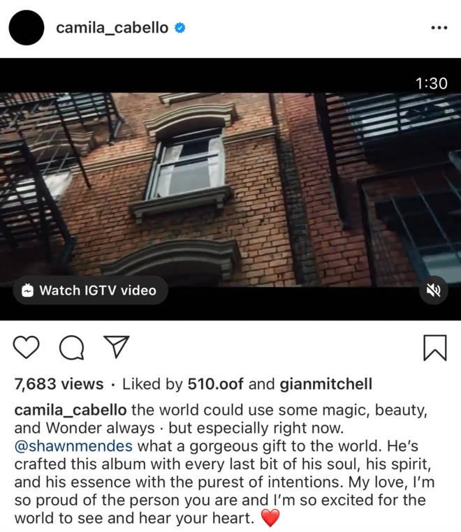 Camila Cabello posts heartfelt message about boyfriend Shawn Mendes's music