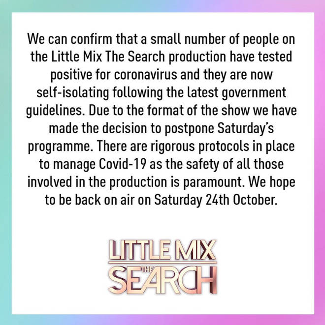 BBC have released a statement on why Little Mix:The Search is cancelled