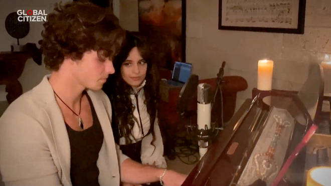 Shawn Mendes and Camila Cabello performing together during lockdown