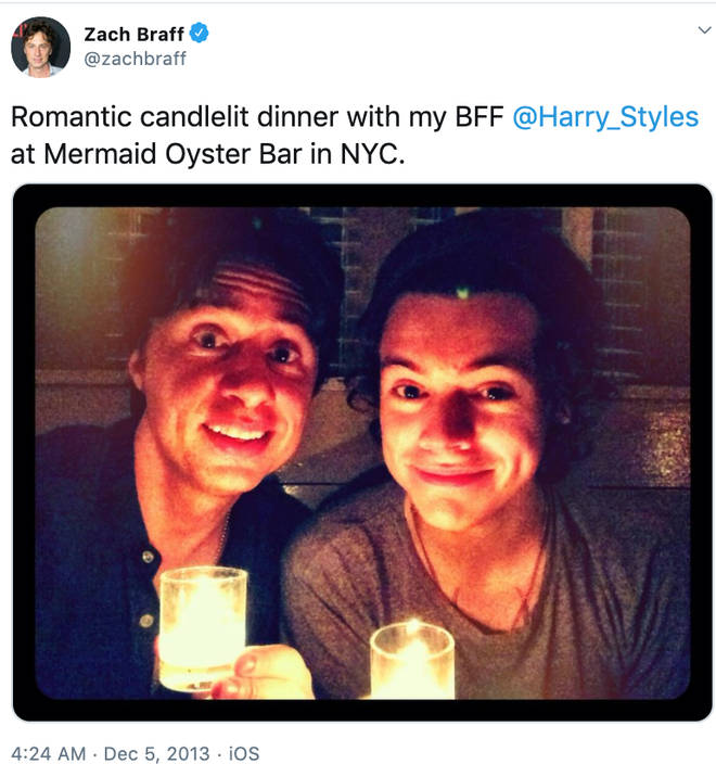 Zach Braff and Harry Styles at their candlelit dinner in 2013