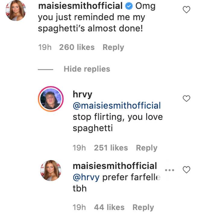 Maisie continued to bombard HRVY's Instagram with comments