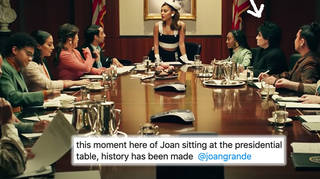 Ariana Grande fills presidential table with loved ones in 'Positions' music video