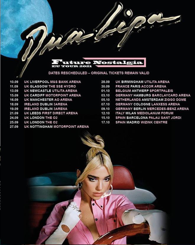 Dua Lipa has announced new tour dates.