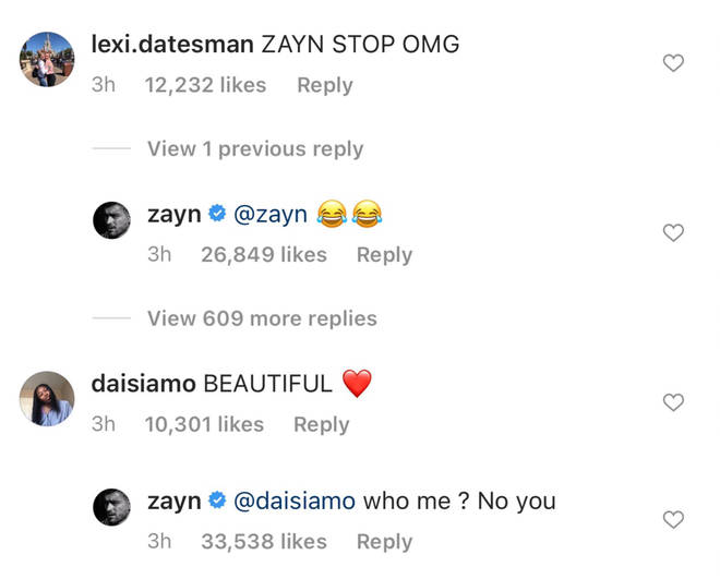 Zayn Malik showed love to fans through Instagram comments