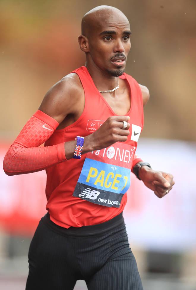 Mo Farah runs the 2020 Virgin Money London Marathon