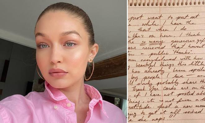 Gigi Hadid shared the handwritten note on Instagram.