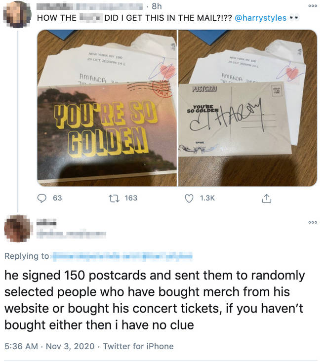 Harry Styles has been sending signed postcards to fans