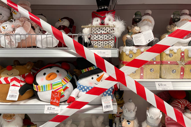Some shops have cordoned off non-essential items in Wales