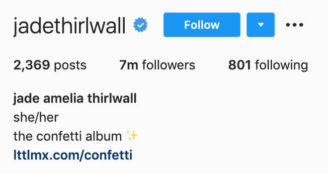 Jade Thirlwall has added her pronouns to her Instagram bio.