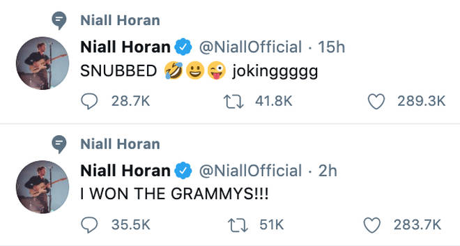 Niall Horan saw the funny side of GRAMMY snubs