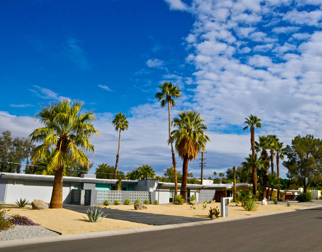 The homes in Palm Springs, California still have their retro theme