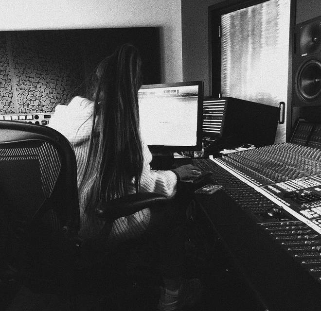 Ariana Grande in the studio