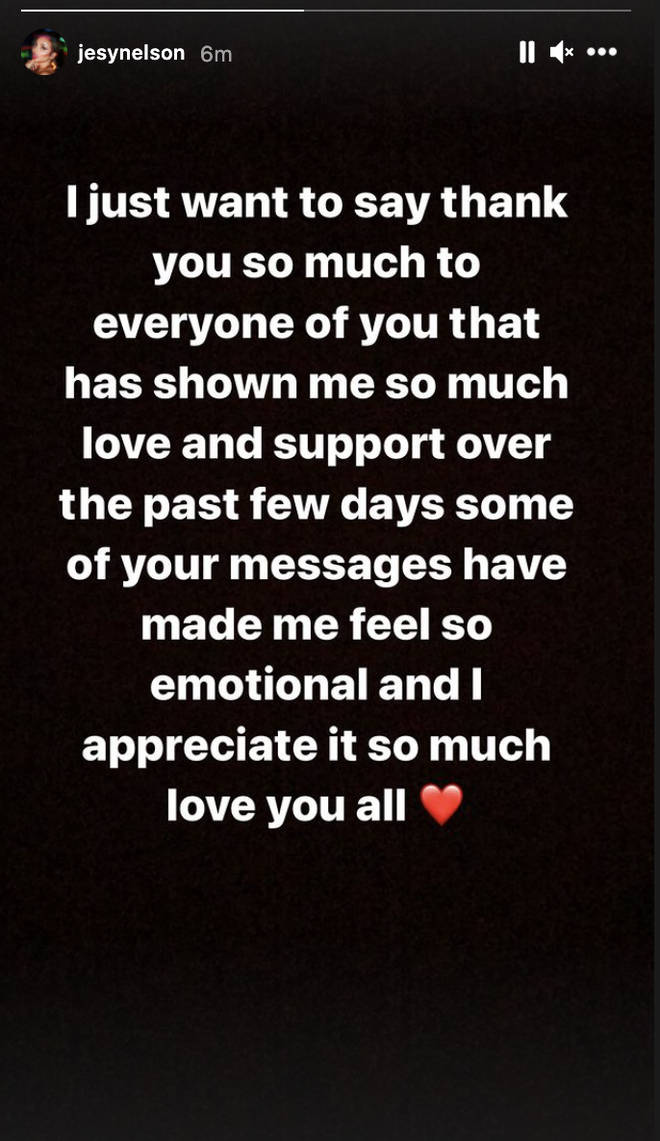 Jesy Nelson thanks fans for support on Instagram