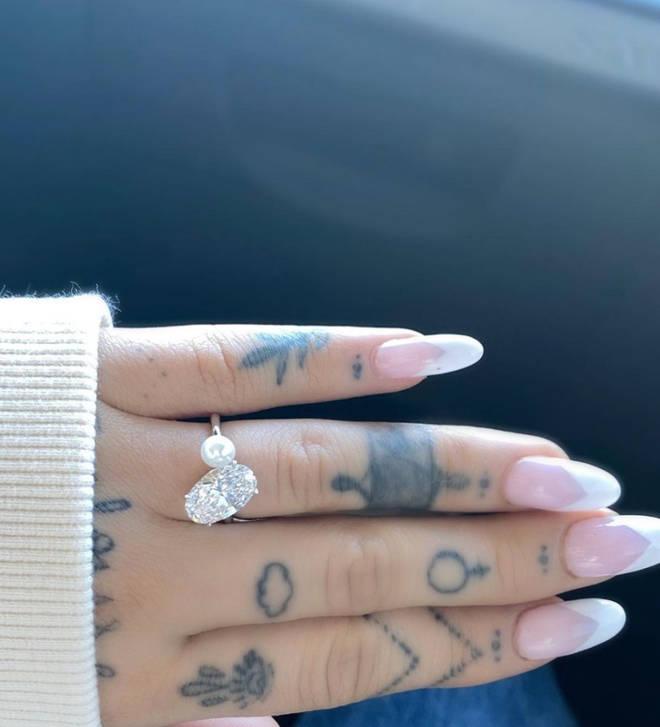 Ariana Grande showed off her engagement ring on Instagram