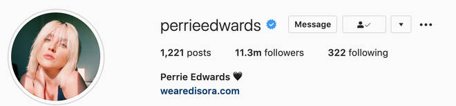 Perrie Edwards added a black heart alongside her name