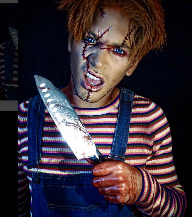 Love Island's Eyal Booker joined Perrie Edwards in getting his makeup done for Halloween