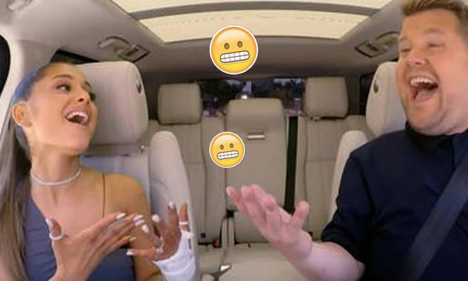 Ariana Grande sings carpool Karoke with James Corden