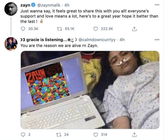 Zayn's fans rush to let him know they're loving the album