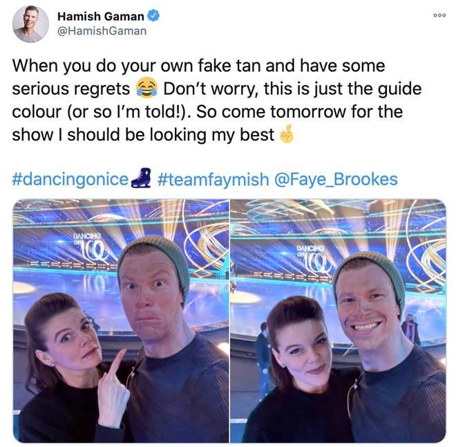 Faye Brookes and skating partner Hamish Gaman are fast friends