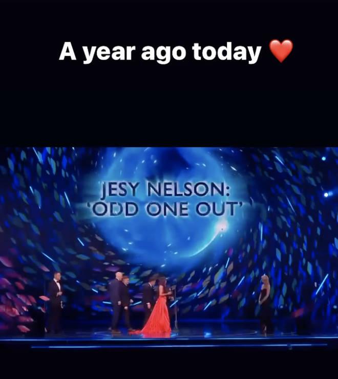 Jesy Nelson celebrates one year since her NTA win