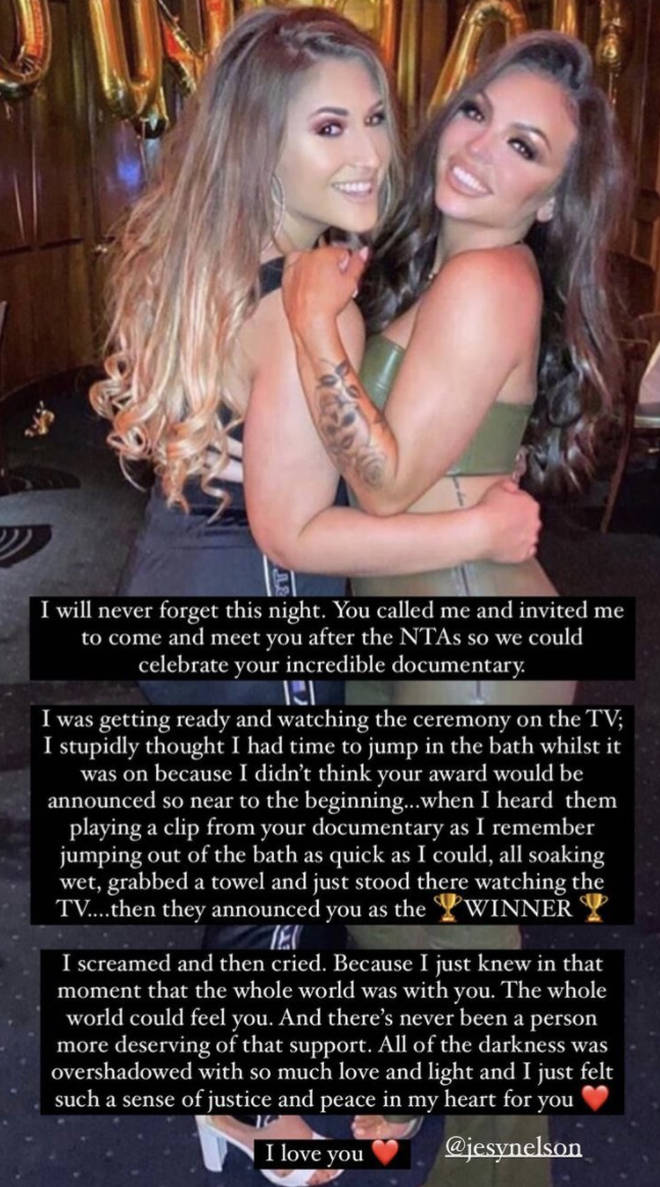 Jesy Nelson's friend posts incredible message to her