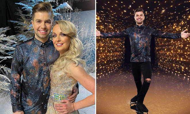 Sonny Jay and partner Angela Egan are attempting a tricky lift for Dancing on Ice