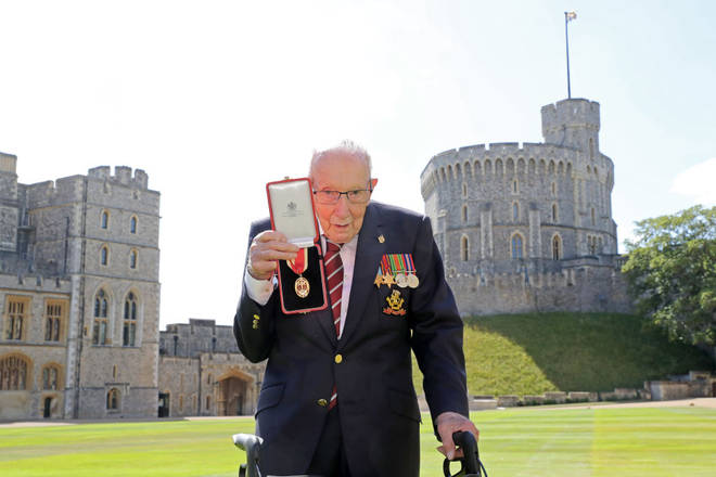 Captain Sir Tom Moore was knighted in 2020 for his fundraising efforts for the NHS