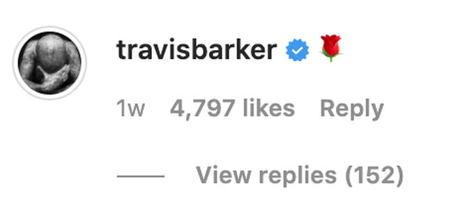 Travis Barker has been leaving comments on Kourtney's posts.