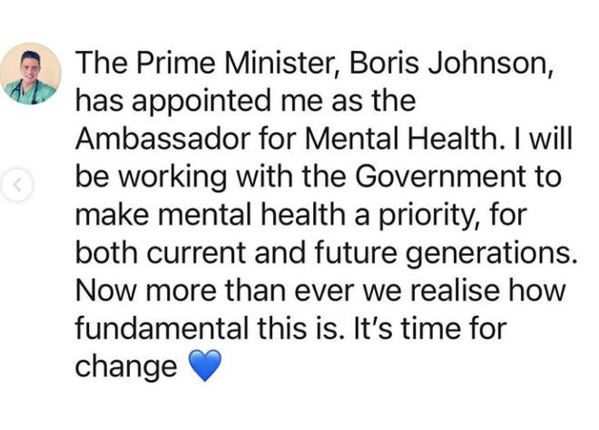 Dr Alex reveals he has been appointed as the Ambassador for Mental Health by the PM