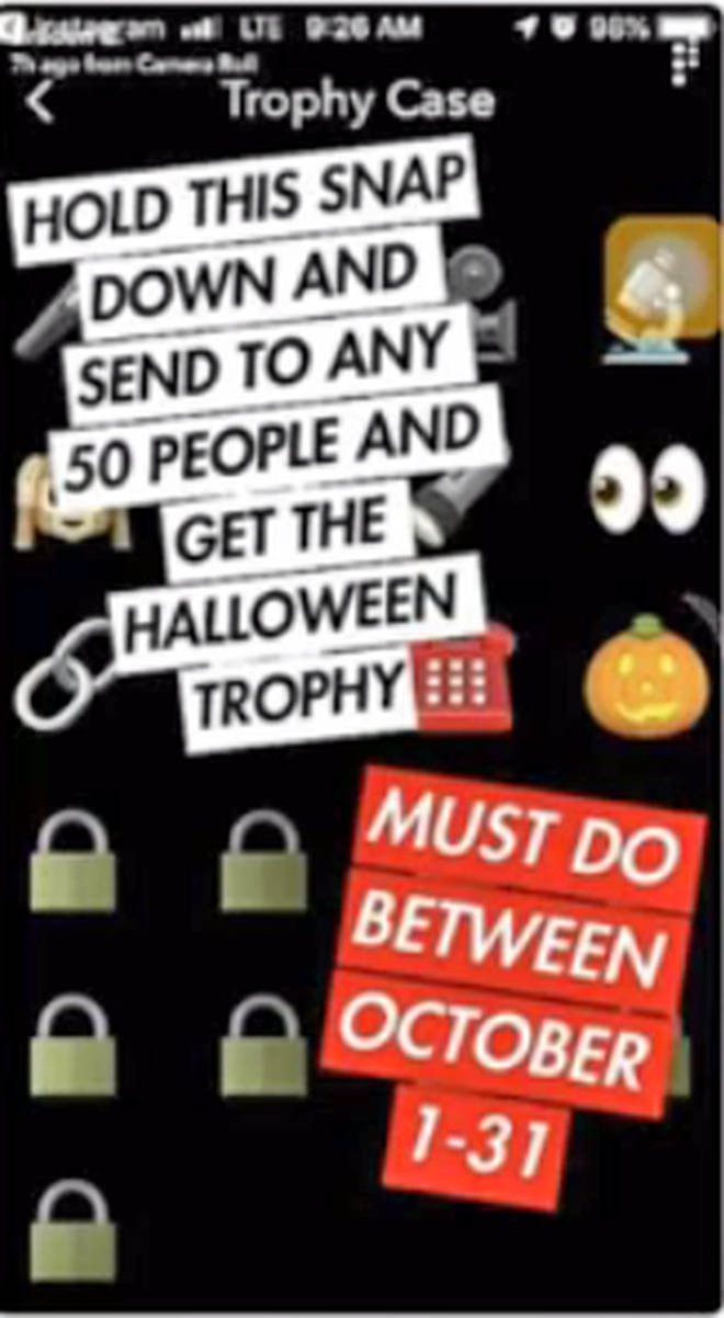 Snapchat users have been sharing a fake post about a Snapchat Halloween Trophy