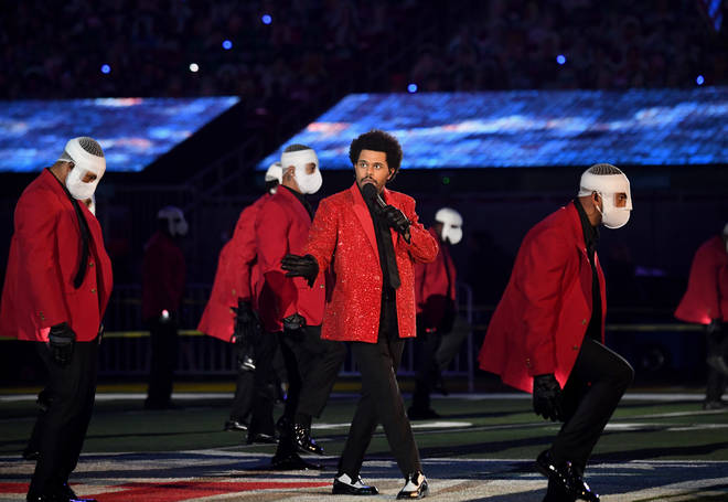 The Weeknd performed at the Super Bowl in Florida.