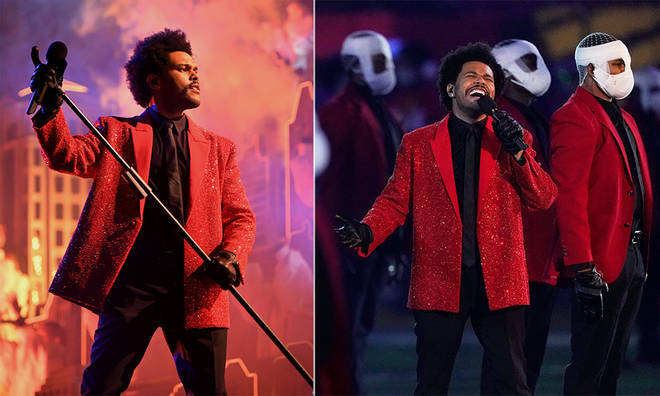 The Weeknd performed a mix of old and new songs at the Super Bowl.