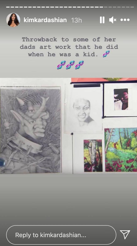 Kim Kardashian showcased her husband Kanye West's art skills.