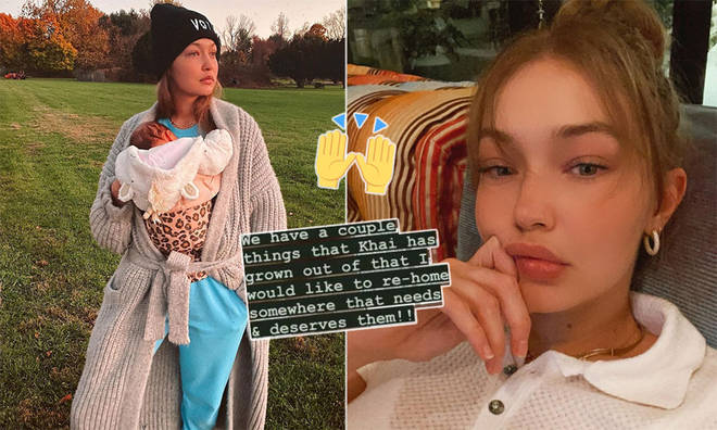 Gigi Hadid wants to re-home baby Khai's gifts to families who need them.
