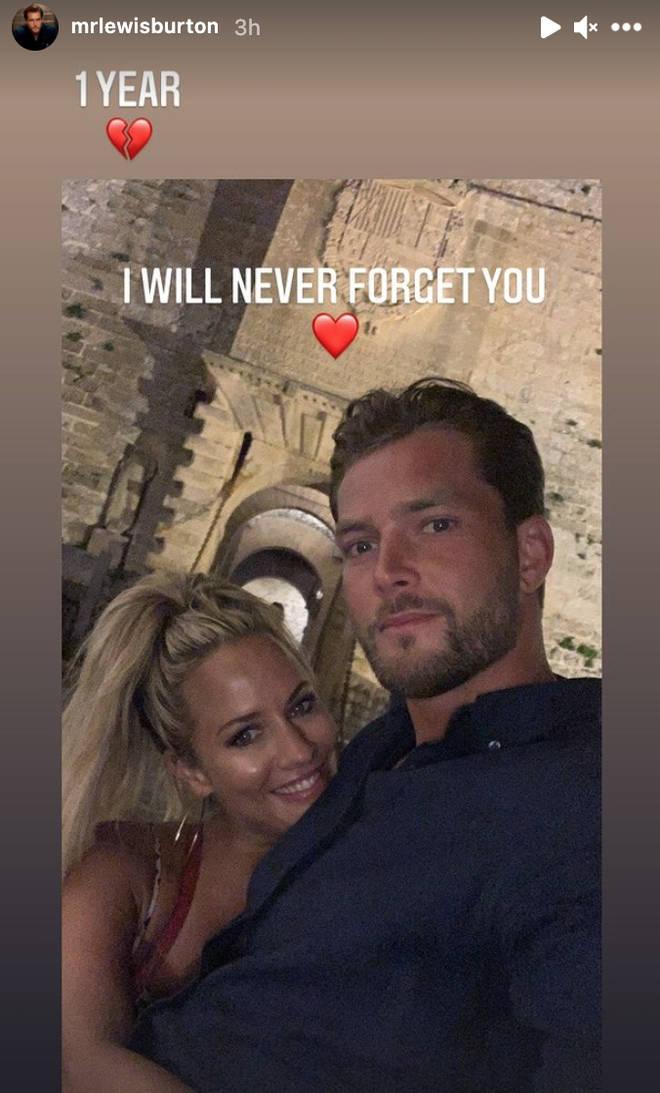 Lewis Burton paid tribute to his ex-girlfriend