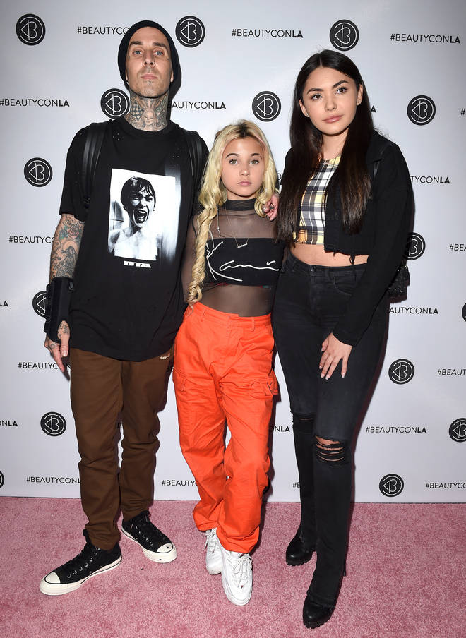 Travis Barker with his daughter Alabama and step daughter Atiana