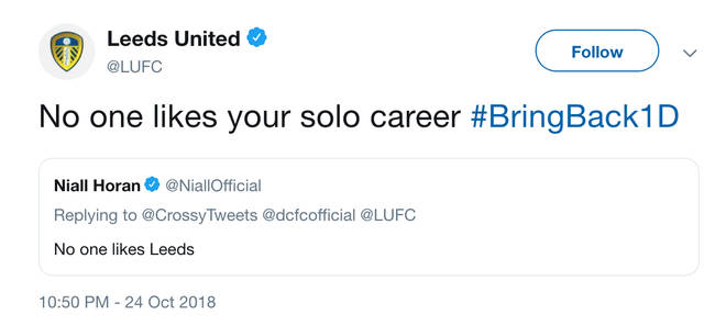Niall Horan gets involved in Twitter banter with Leeds United