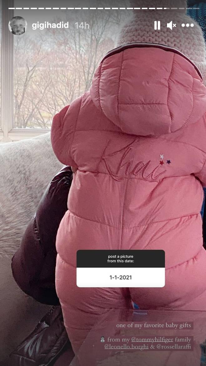 Gigi showed off Khai's custom-made snowsuit.