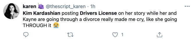 Kim Kardashian's fans reacted to her listening to 'Drivers License'.