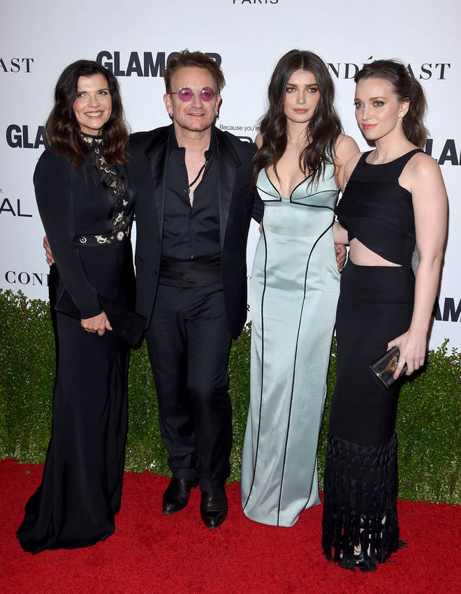 Bono with wife Alison and daughters Eve and Jordan