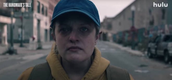 Elisabeth Moss plays Offred in The Handmaid's Tale