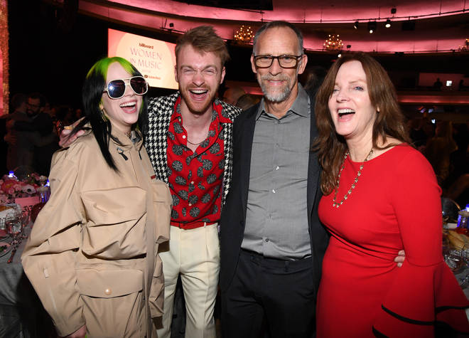 Finneas O'Connell and sister Billie Eilish with their parents Maggie and Patrick