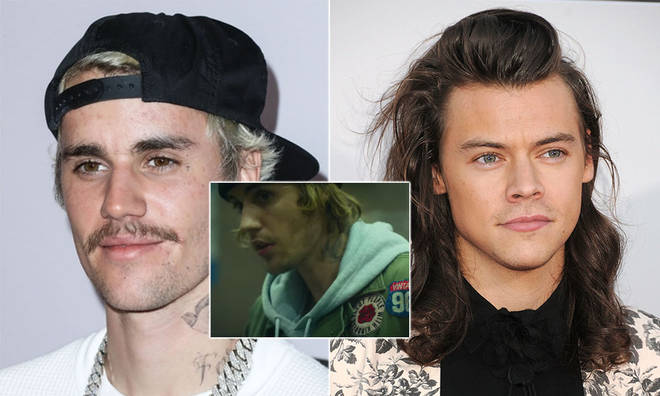 Justin Bieber was spotted repping Harry Styles' slogan.
