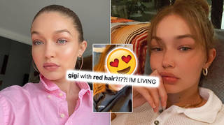 Gigi Hadid showcased her new red hair.