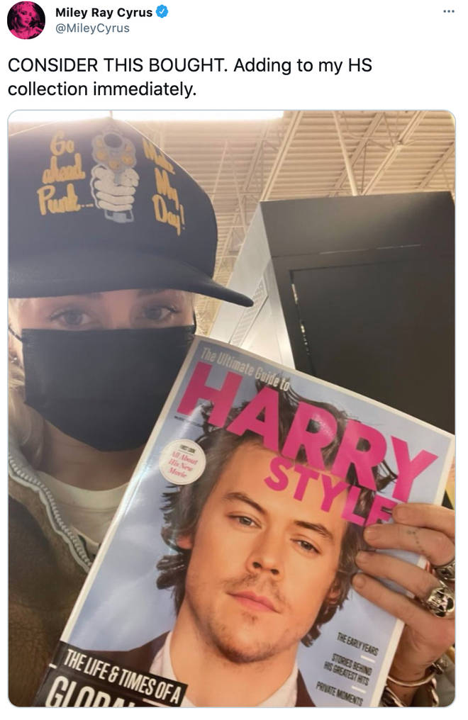 Miley Cyrus picked up a Harry Styles magazine cover for her collection