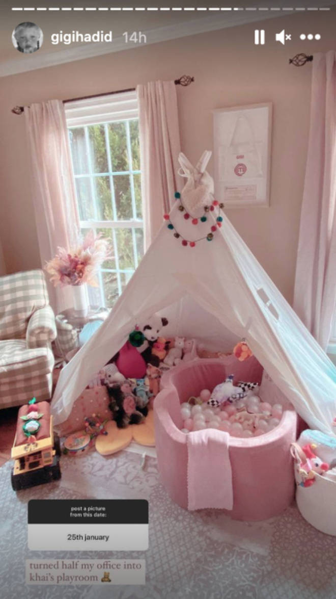Gigi transformed part of her office into a playroom for Khai.