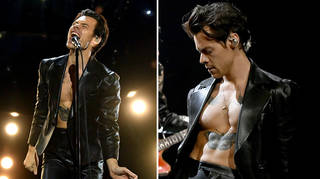 Harry Styles opened the Grammys shirtless in a leather suit