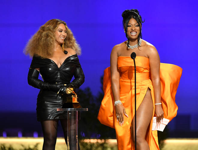 Beyoncé and Megan Thee Stallion accept the Best Rap Performance award for 'Savage'